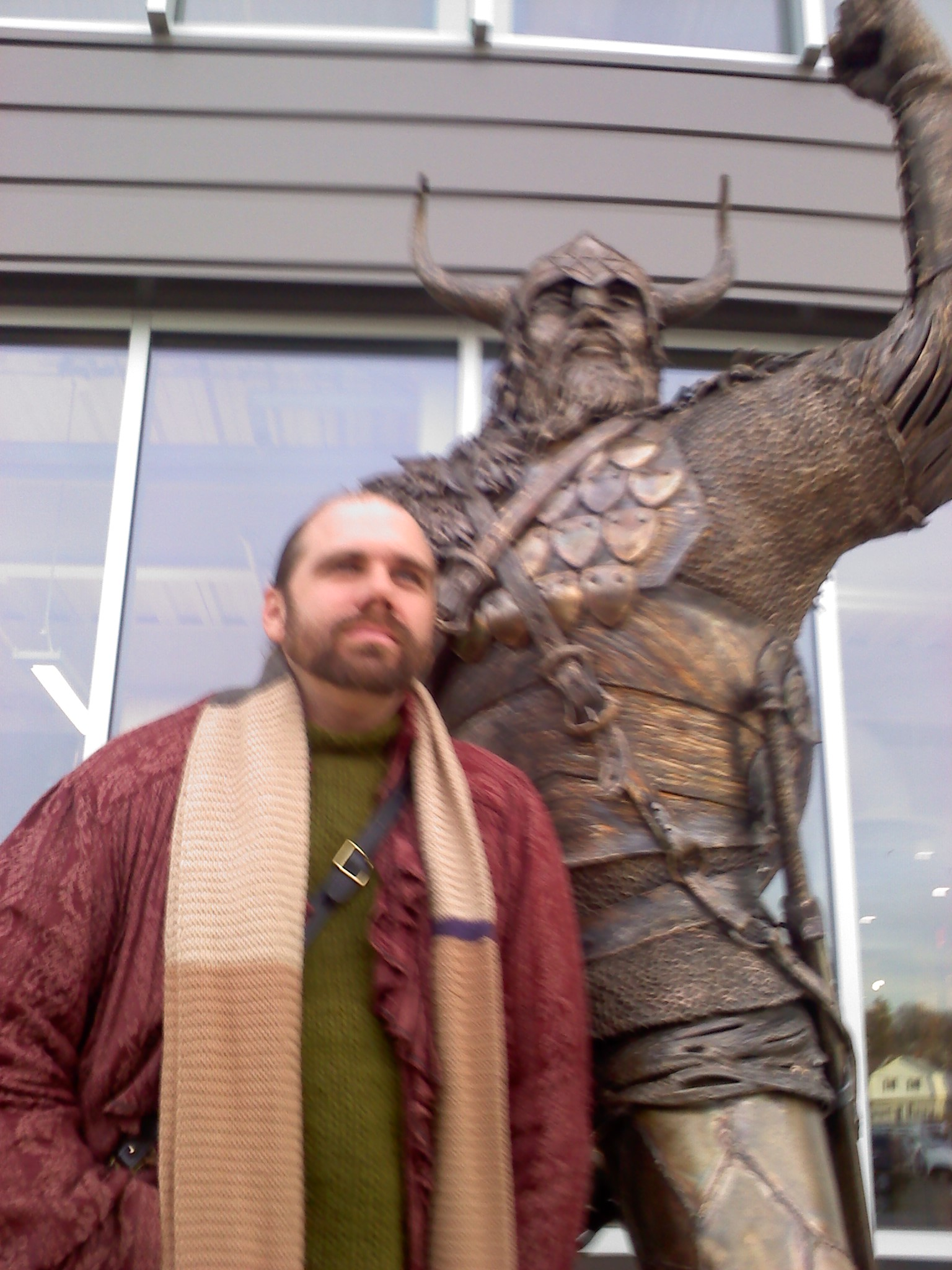 Viking statue and Chris Dowgin
